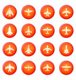 airplane top view icons set red vector image