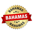 Bahamas round golden badge with red ribbon vector image vector image