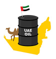 Barrel oil UAE map background Flag United Arab vector image vector image