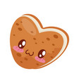 biscuit with cream heart shaped cute kawaii food vector image vector image