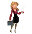 Blond in wine red chemise with cup of tea or vector image vector image