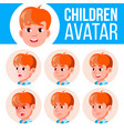 boy avatar set kid primary school face vector image