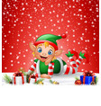 christmas background little elf laying on snow vector image vector image