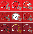 Colored football helmets in red tones vector image