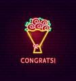 congrats neon label vector image vector image