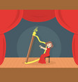cute girl in red dress playing harp on stage vector image vector image