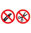do not open with a knife or scissors sign vector image vector image