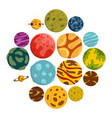 fantastic planets icons set in flat style vector image