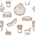 Fast food seamless pattern Hand drawn food vector image vector image