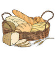 fresh bakery products in a wicker basket vector image vector image