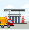 gas station pump and tanker truck transport oil vector image