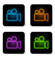Glowing neon movie or video camera icon isolated