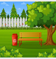 green park with wooden bench and trash bin vector image