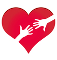 Hands reaching each other in heart symbol vector image