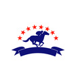 Horse and jockey racing silhouette stars vector image vector image