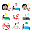 Insomnia people having trouble with sleeping icon vector image