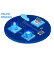 internet banking isometric composition with coud vector image