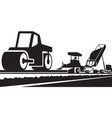 laying an asphalt pavement on a road vector image vector image