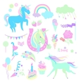 Light green and aquamarine unicorns with sweets vector image vector image