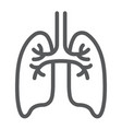 lungs line icon anatomy and biology pulmonology vector image