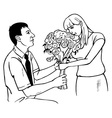 man gives girl flowers on knee vector image vector image