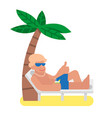 man relax on beach vector image vector image