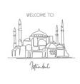 one single line drawing hagia sophia or aya sofia vector image