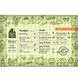 organic food vegan restaurant menu vector image vector image