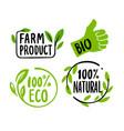 organic labels fresh eco vegetarian emblems vector image vector image