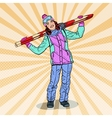 Pop Art Happy Woman with Ski on Winter Holidays vector image vector image