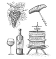 press for grapes sketch corkscrew wine bottle vector image vector image