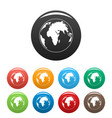 round planet icons set color vector image vector image