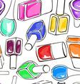seamless pattern nail polish bottles vector image vector image