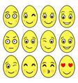 set emoji in shape easter eggs ep vector image
