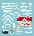 set isolated snow caps winter house decoration vector image
