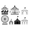 set of carnival circus icons amusement park vector image