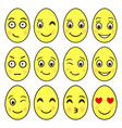 set of emoji in the shape of easter eggs ep vector image