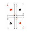 set of hearts spades clubs and diamonds ace vector image