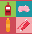set of hygiene items in flat style vector image