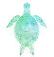 silhouette a sea turtle top view with vector image vector image