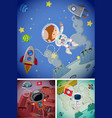 Space scenes with astronauts and spaceships vector image