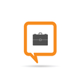 square orange speech bubble with suitcase icon vector image vector image
