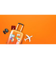 travel with different staff orange suitcase vector image vector image