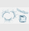 water splashes and ice cube vector image