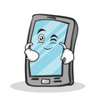 Wink face smartphone cartoon character