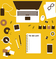 Working table top view with laptop vector image vector image