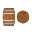Wooden barrel with iron rings Isolated on white vector image