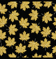 gold glitter maple fall tree leaf seamless pattern vector image