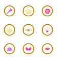 little princess icons set cartoon style vector image