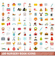 100 nursery book icons set flat style vector image vector image